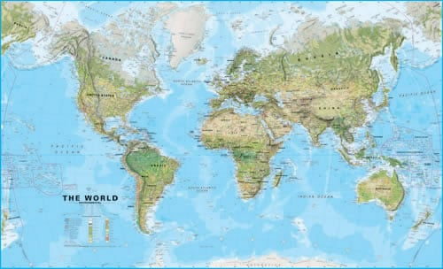 Huge world physical wall map