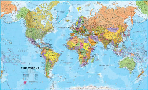 Physical huge world wall map
