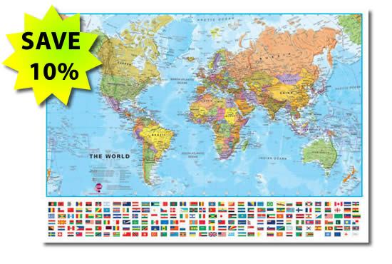 Large World Wall Map With Flags - Save 10%