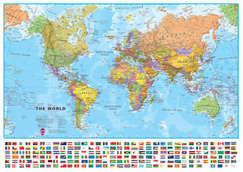 Large World Wall Map With Flags