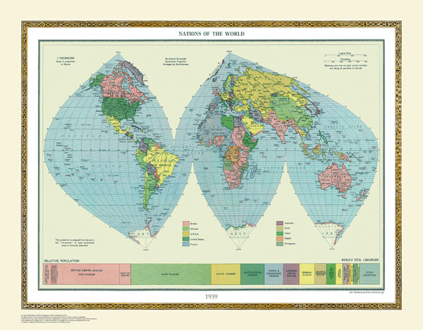 Political World Map 1950.15 Off Personalised Historical World Maps Introductory Offer