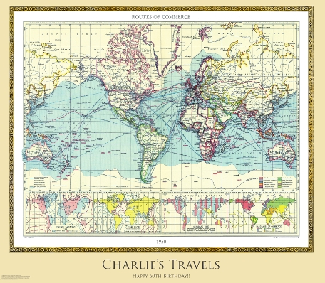 Personalised World Historic Map - 1950 With Buff Background
