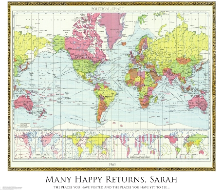 An inspired personalised gift idea from maps international maps personalised historic world map 1963 gumiabroncs Image collections