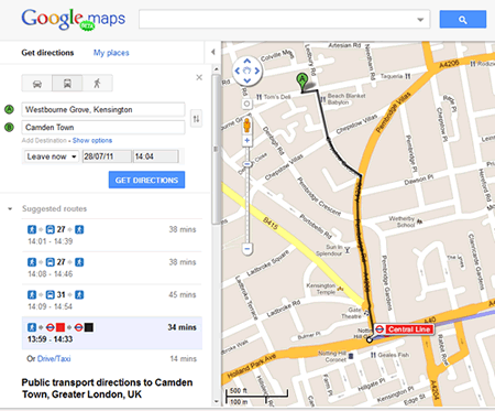 London Map Directions.Public Transport Directions On Google Maps London Only Maps