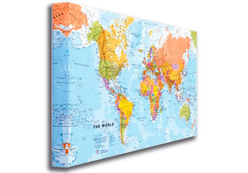 world map on canvas home decoration