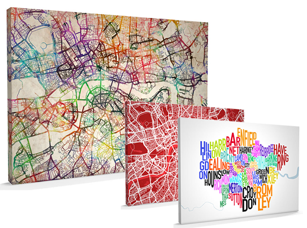 The beautiful canvas art maps on offer in this competition.