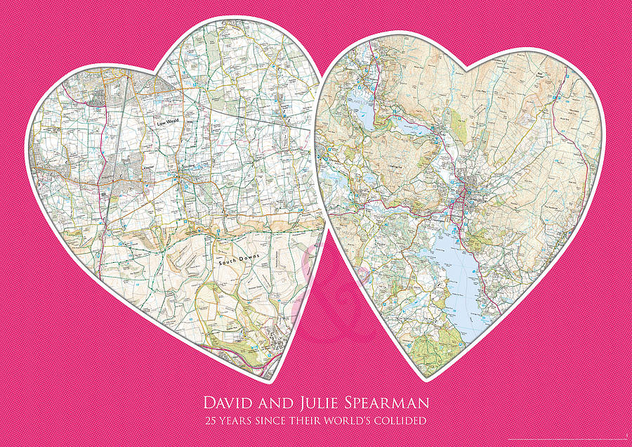 Personalised Postcode Map for Couples