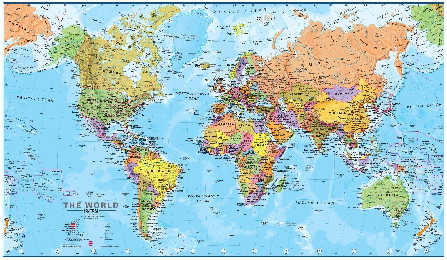 World map poster education decoration location
