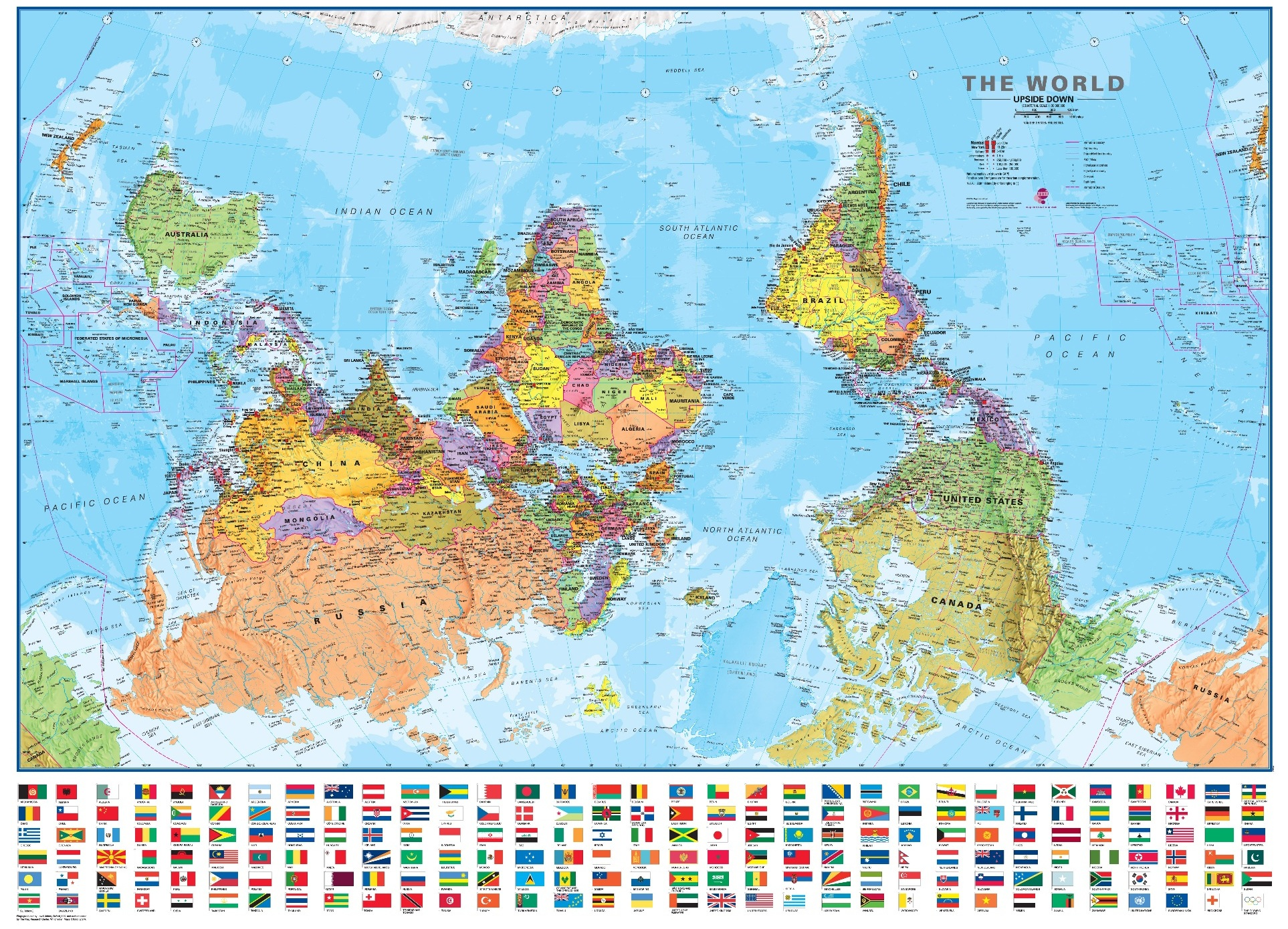 World map posters maps international blog upside down world map poster gumiabroncs Gallery