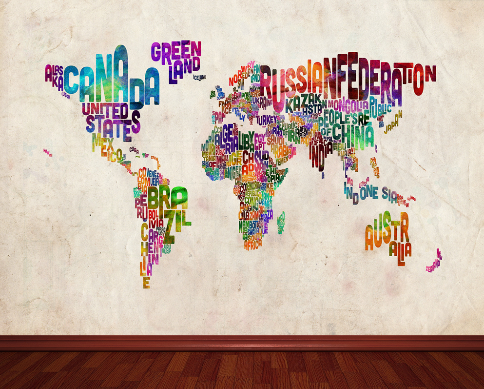 Text Art World Map Wallpaper