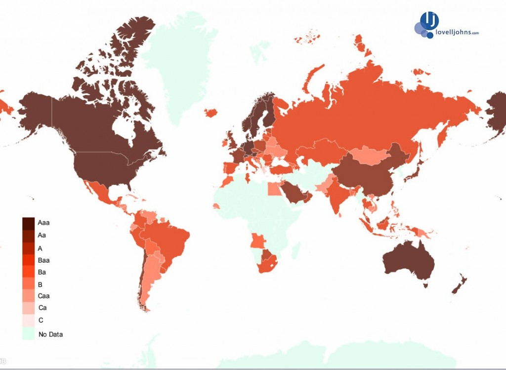 Map of the World's Credit Ratings