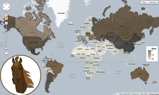World Map of Horse Meat Producers