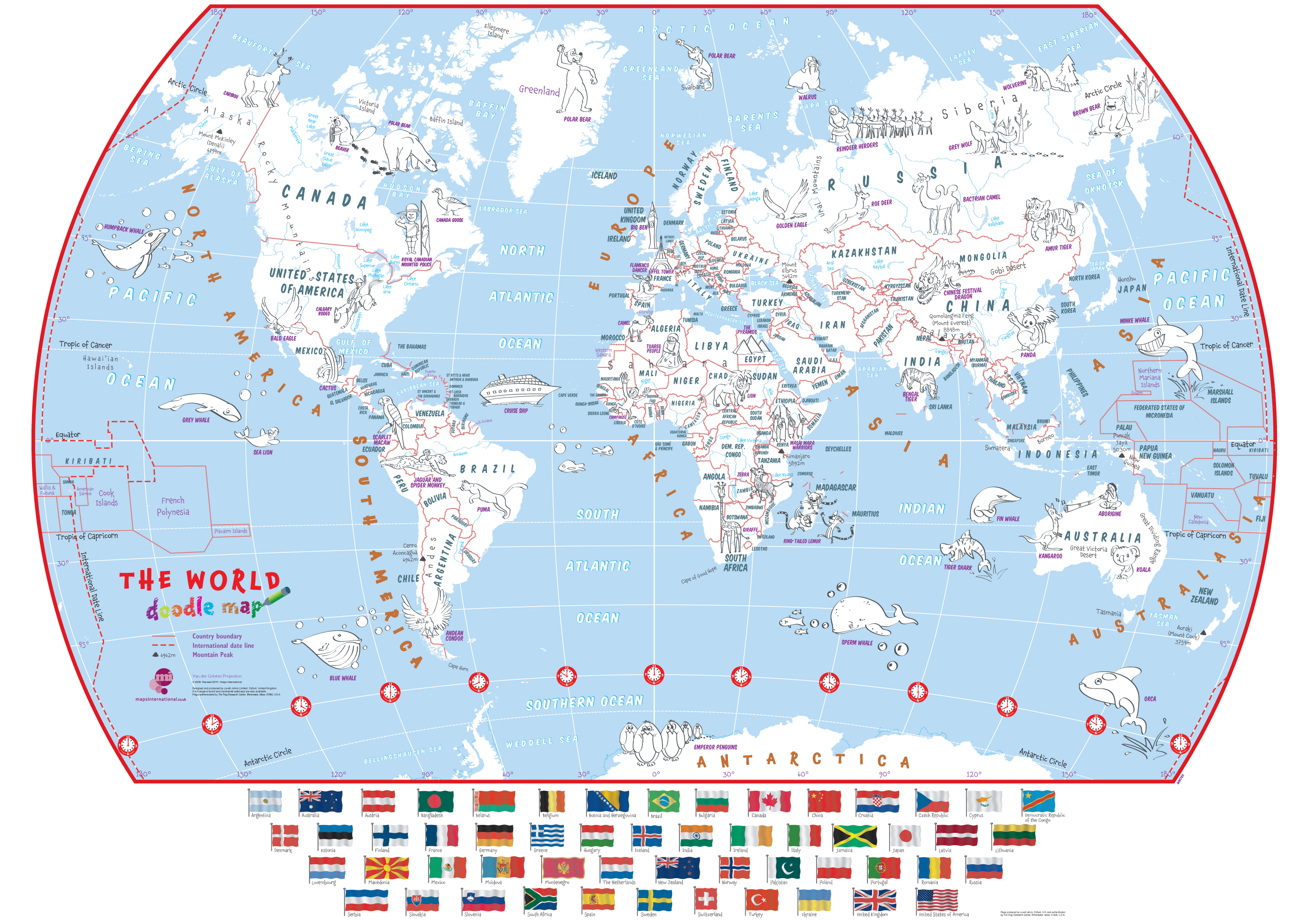 Doodle World Map with Crayons