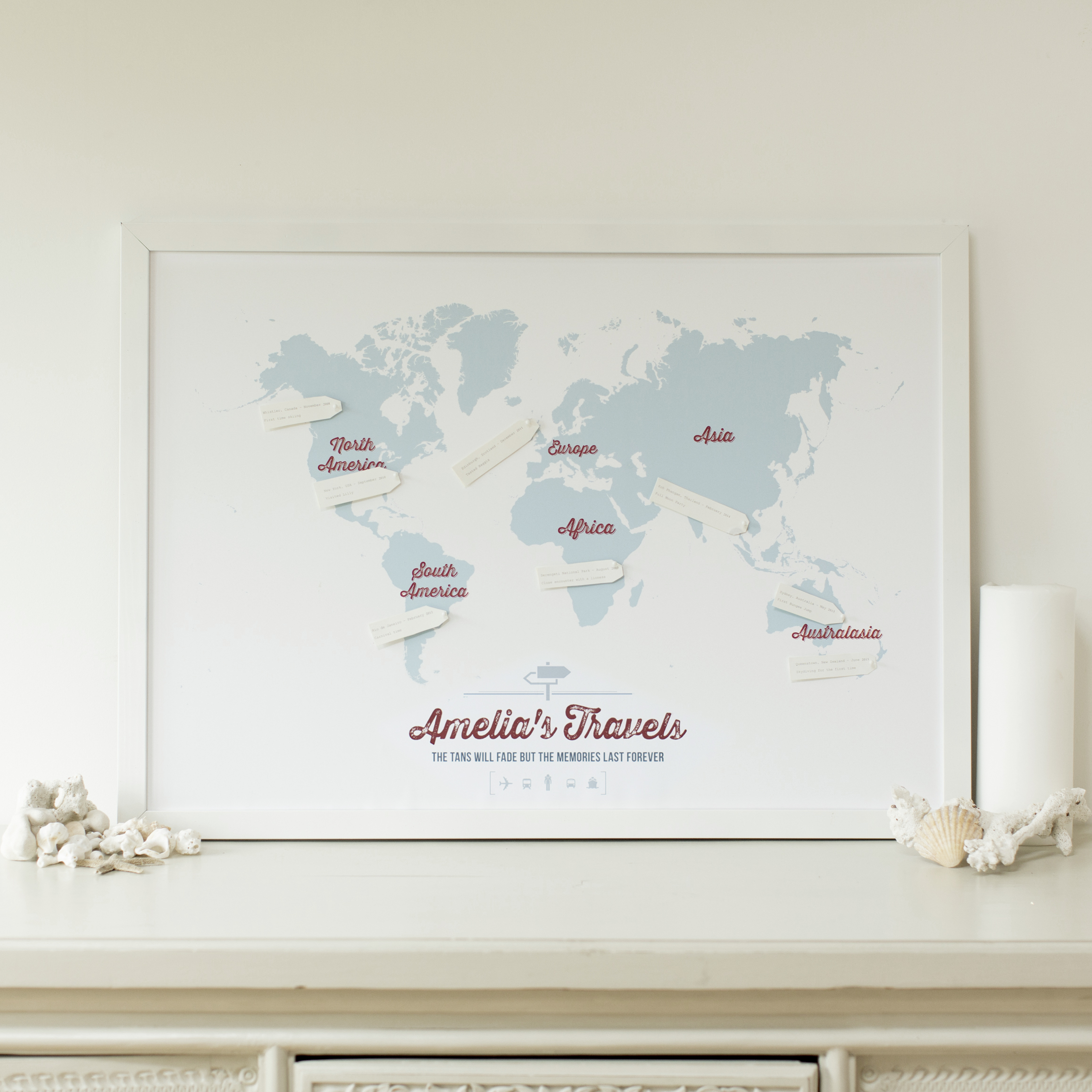 Personalised Travel Map with luggage tags