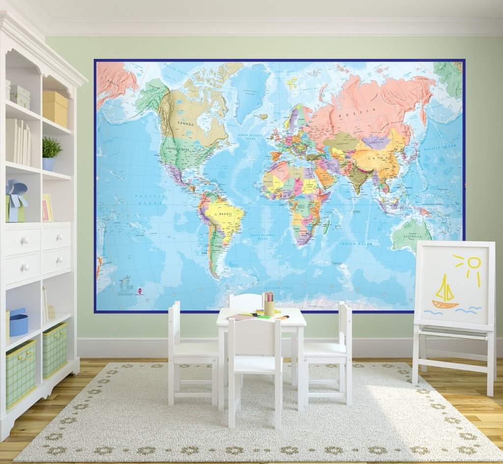 World Map Wallpapers To Suit Any Home Maps International Blog - World map for kids room