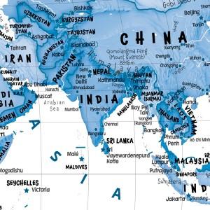 Children's Art Map of the World - Blue