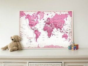 Children's Art Map of the World - Pink