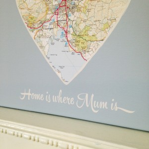 Personalised Gifts this Mother's Day - 'Home Is Where Mum Is' Map