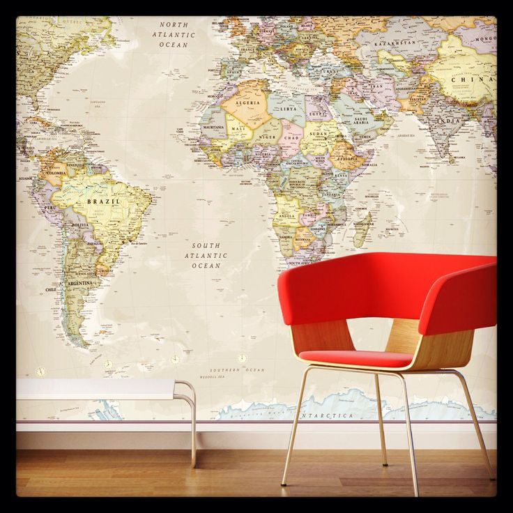Giant world map for the home