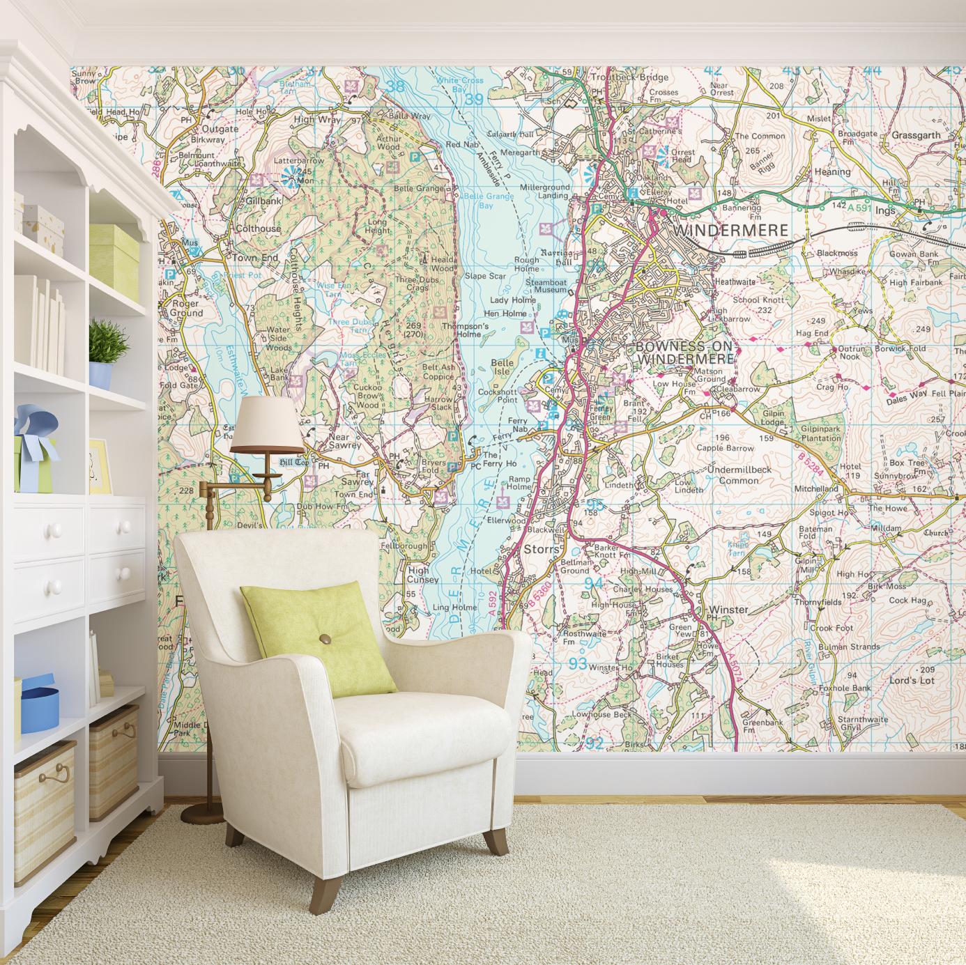 Ordnance Survey wallpaper map of lake Windemere