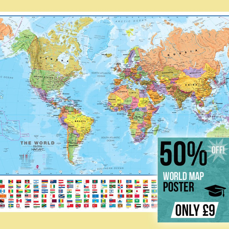 World wall map poster with flags