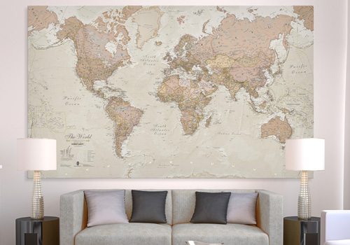 Antique Canvas World Map