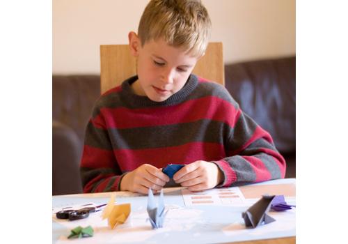 Child making Origami animals