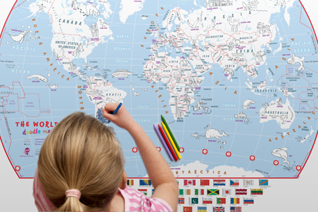 Kids Doodle Map of the World With Crayons