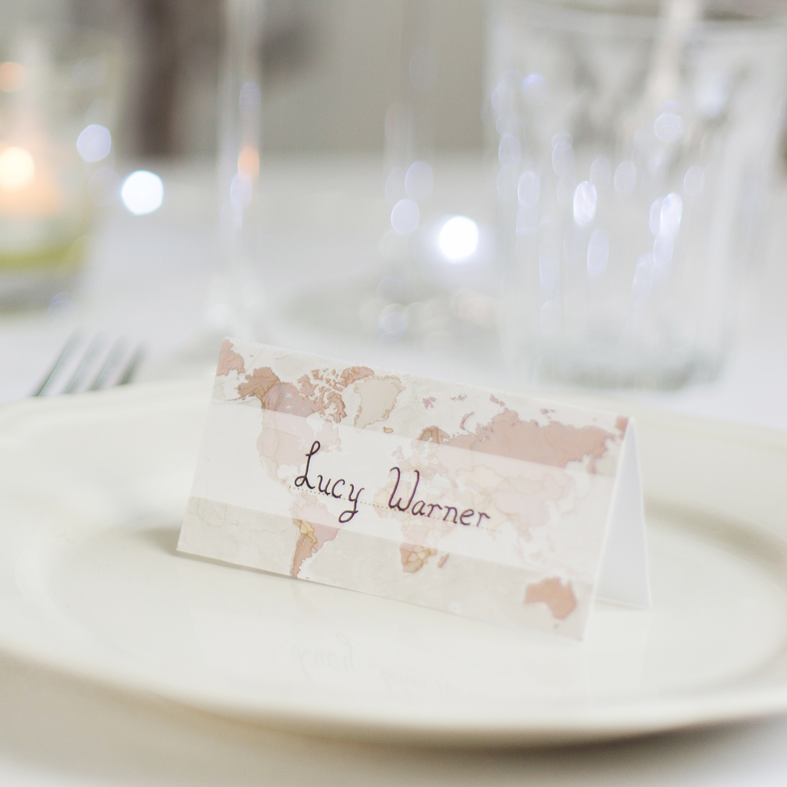 Antique World Map Wedding Place Cards