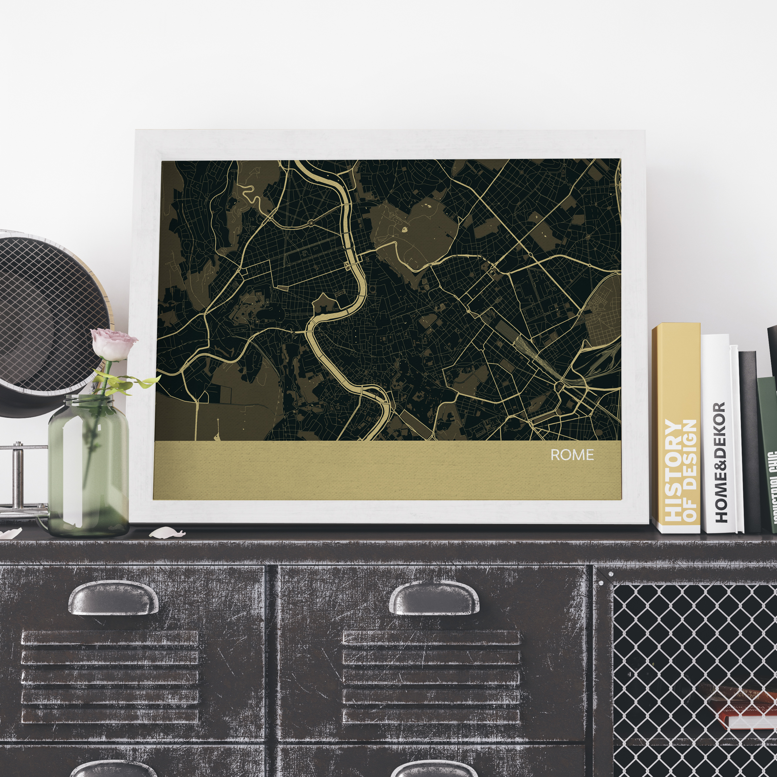 Straw Rome City Street Map Print