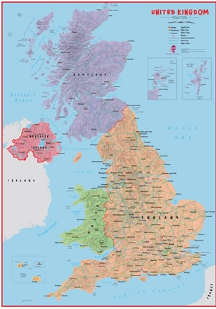Primary UK wall map (political)