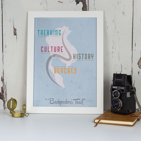 Backpacking South East Asia Map Print - Graduation Gift