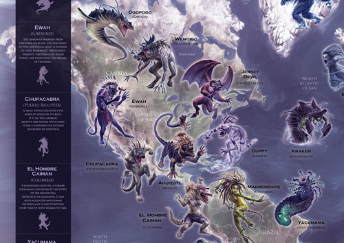 Mythical Monster Map - Close up