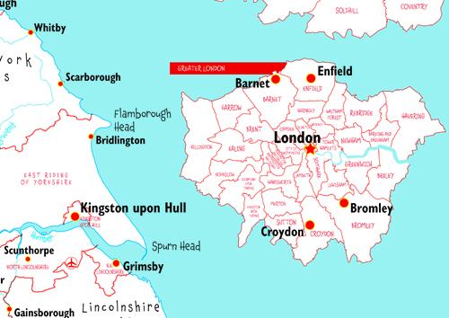 Doodle UK Map With Crayons - Close Up