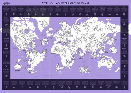 Mythical Monster Map Colouring in Map