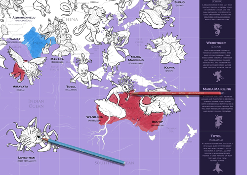 Mythical Monster Map Colouring in Map - Coloured in