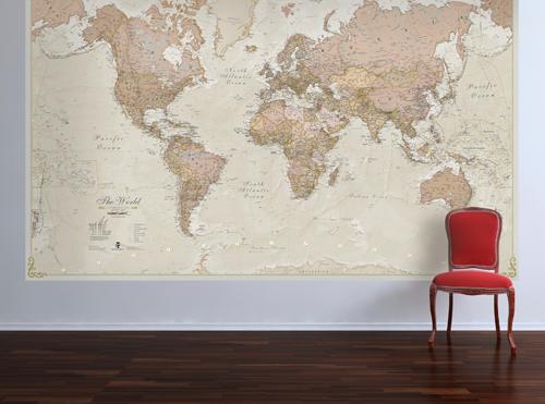 Huge Antique World Map