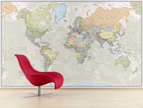 Giant World Map Mural - Classic