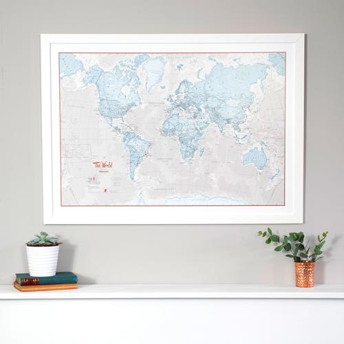 The World Is Art - Wall Map Aqua