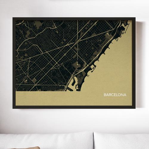 Straw Barcelona City Street Map Print