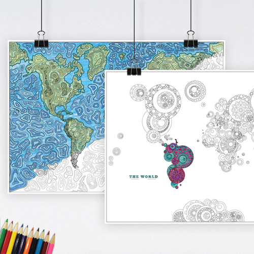 World Map Colouring Poster for Adults Pack