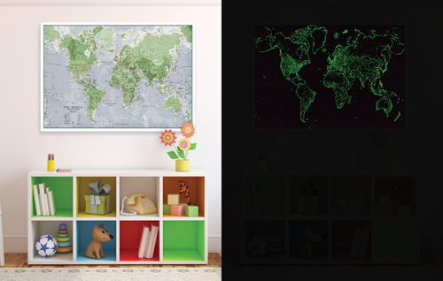 Glow in the Dark Map of the World Pack of 2