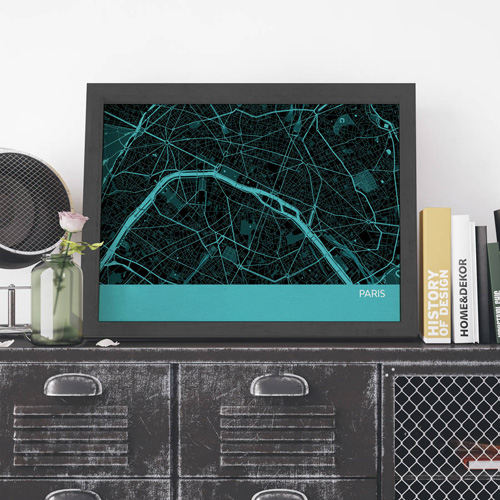 Turquoise Paris City Street Map Print