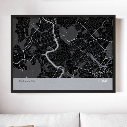 Charcoal Rome City Street Map Print
