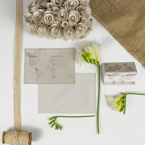 Antique World Map Wedding Invitations