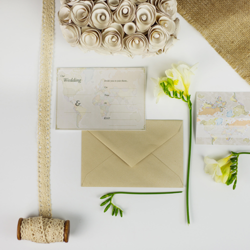 Classic World Map Wedding Invitations