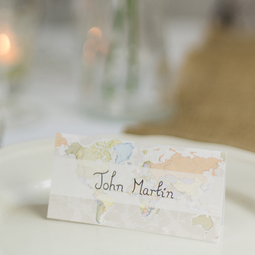 Classic World Map Wedding Place Cards