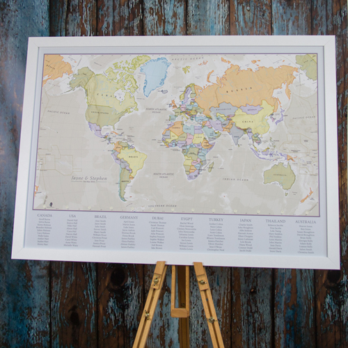 Classic World Map Wedding Table Plan
