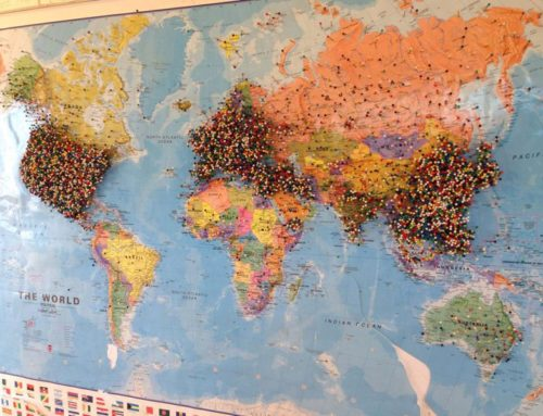 How a restaurant has tracked their global customers with our Large World Map