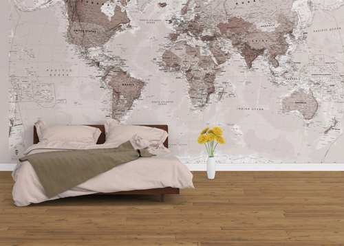 Neutral World Map Wallpaper